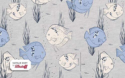 Lillestoff Jersey Aquarium Water Blue blau meliert *** 50 cm x 150 cm *** -