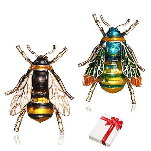 2 Stück Kleine Bienen Brosche Set Für Damen Frauen, Legierung Ölgemälde Natürliche Insekt Tier Broschen Pin für Kleidung Ausschnitt Ornament ,Glitzer Mode-Schmuck Geburtstags Geschenke (Grün Gelb )