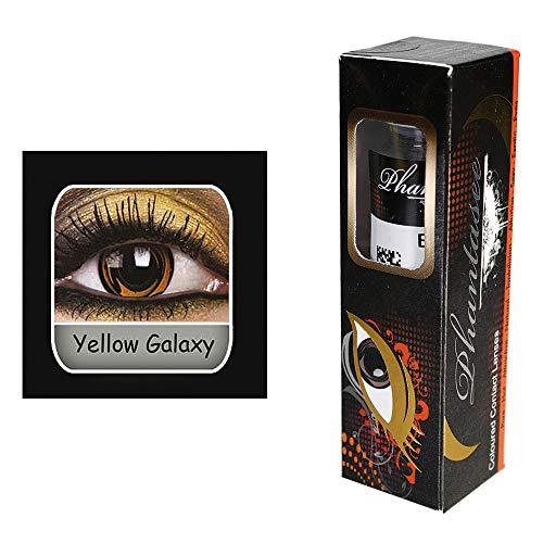 Kontaktlinsen ''Yellow Galaxy'' | Karneval | Fasching | Motivlinsen | ohne Stärke | Eyecatcher | Accessoire | Kostüm | Geschenkidee | Tageslinsen | Preis am Stiel® (Cyborg Kostüm Accessoires)