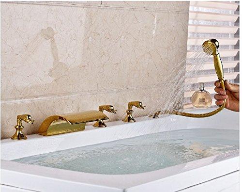 Gowe Gold Finish Deck montiert Badewanne Wasserhahn breitgefächert 5x Badewanne Wasserhahn LED Auslauf Einhebelmischer -