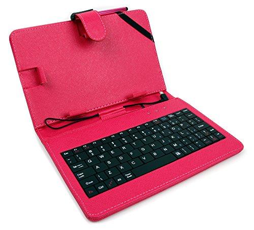 DuraGadget Rosa Schutzhülle Etui Tasche Case aus Premium Lederimitat mit integrierter Tastatur / Keyboard für Odys Xelio PhoneTab 7 | Junior Tab 8 Pro | Syno (X610111) | Maven 7 | Mira | Orbit LTE | Pro Q8 | Xelio Phone Tab 3 LTE Tablets - ENGLISCHE QWERTY Belegung