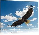 Adler fliegt über Schneebedeckte Berge Format: 80x60 cm auf Leinwand, XXL riesige Bilder fertig gerahmt mit Keilrahmen, Kunstdruck auf Wandbild mit Rahmen, günstiger als Gemälde oder Ölbild, kein Poster oder Plakat