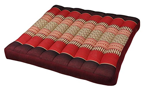 Seat cushion, Brown/red flat cushion (50x50/7 cm) for chair, sofa,