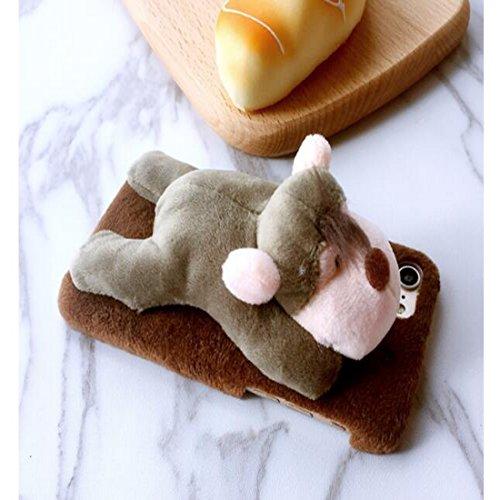 Lovely mignon 3d Animal en peluche poupée Jouets en peluche téléphone portable Coque pour iPhone Coque arrière Donkey 7Plus Monkey 6Plus