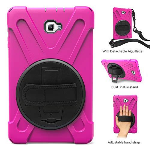 Obamono] Hülle für Samsung Galaxy Tab A 10.1 SM-T580, weiche Prämie-Tablette-Rückseite Hülle auf der Rückseite mit Abnehmbarer Aiguillette und Verstellbarer Handschlaufe (Pink)