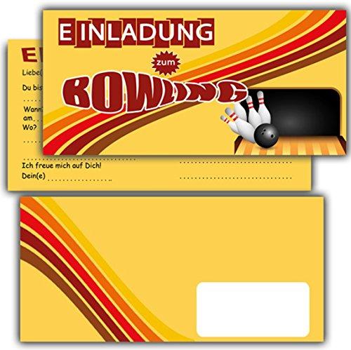 Einladung Bowling Einladungskarten mit Umschlägen im günstigen Set 12 Stück - zum Kindergeburtstag Party Feier Kegeln Kinder Geburtstag Einladungen Karten Jungen Mädchen