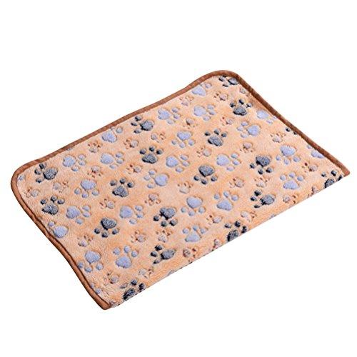 POPETPOP Puppy Blanket Pet Kissen Kleiner Hund Katze Bett Weiche Warme Schlafmatte Haustier Hund Katze Welpen Kätzchen Weiche Fleece Decke Paw Print Kissen 60x40 cm (Braun)