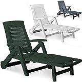Deuba Sonnenliege Zircone | inkl. Rollen | Verstellbare Rückenlehne | klappbar | Kunststoff | Gartenliege Rollliege Liegestuhl - Farbauswahl - grün