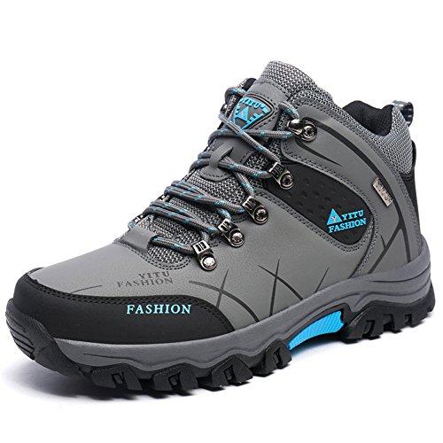 Laiwodun Herren Trekking-& Wanderschuhe Sports Outdoor Wasserdicht Gleitsicher Stiefel mit perfekter Dämpfung Grau (41)