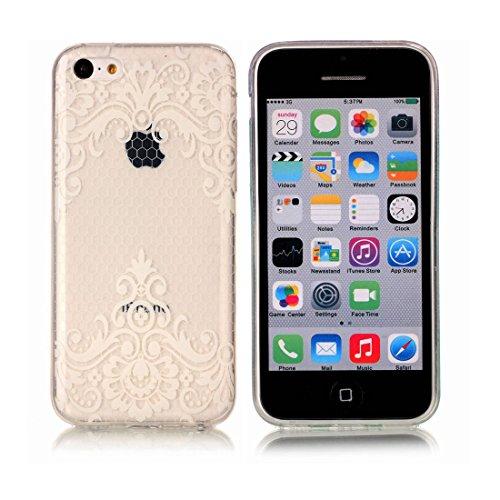 iPhone 5C Custodia, [Materiale flessibile TPU Gel trasparente del silicone Grip sottile e leggero ] Copertura iPhone 5C Case, Shock Proof [ Cartoon Fiore Totem bianca ] # # 5