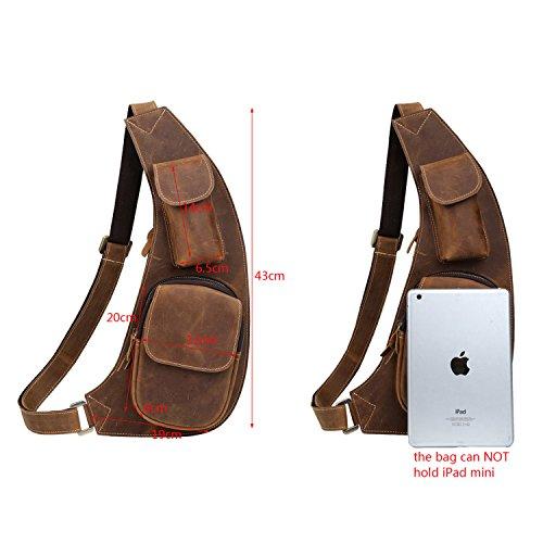 BAIGIO Herren Leder Bodybag Bauchtasche Schultasche Unwucht Rucksack Tasche Brusttasche Umhängetasche Freizeit aus echtem Leder Tasche ,Dunkelbraun Braun