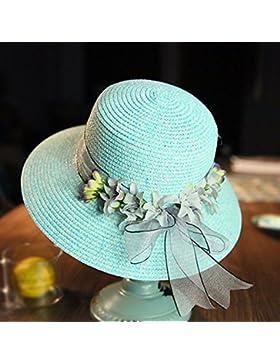 LVLIDAN Sombrero para el sol del verano Lady Anti-Sol Playa sombrero de paja verde