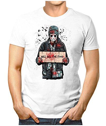 PRILANO Herren Fun T-Shirt - JASON-KILL-FOR-FOOD - Small bis 5XL - NEU Weiß