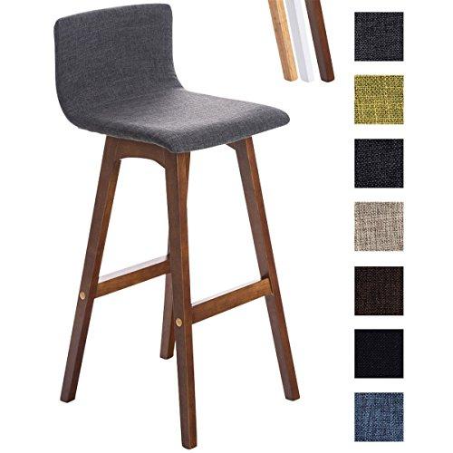 Clp sgabello da bar taunus in tessuto - sedia alta da cucina con telaio in legno i sedia alta da bar con schienale e poggiapiedi i sgabello alto da bancone con seduta alta 72 cm grigio chiaro telaio in legno color noce