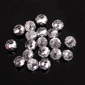 I LOVE DIY 100pcs Perles de Cristal Verre Facettes Gouttes deau Boh/ème Creation Bijoux 8/×6mm Rose AB