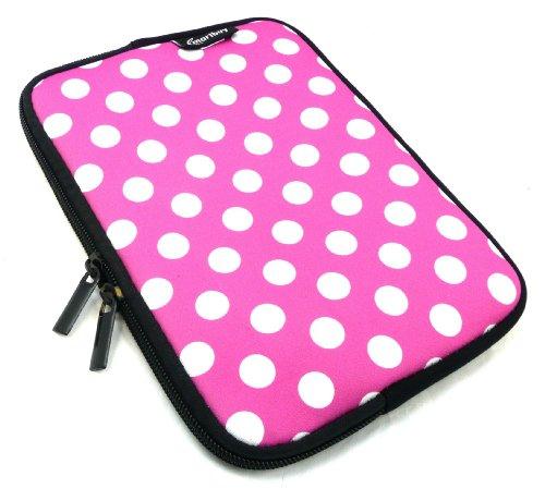 Emartbuy® Tupfen Rosa / Weiß Wasser Resistant Neoprene Weich Zip Case Cover Tasche Hülle Sleeve Geeignet Für I.onik TP - 1200QC 7.85 Inch Tablet (8 -Zoll-Tablet )