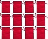 Frühes Forschen 12 Baumwoll-Säckchen, Baumwollbeutel rot, ca. 15 x 23 cm, Advent