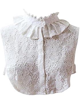 Lenfesh Cuello Falso Camisa Desmontable, Elegante Bordado Falso Collar Mitad Camisa Blusa Blanco Para Mujeres