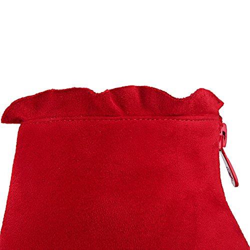 VogueZone009 Donna Scarpe A Punta Alla Caviglia Tacco Alto Puro Stivali con Metallo Rosso
