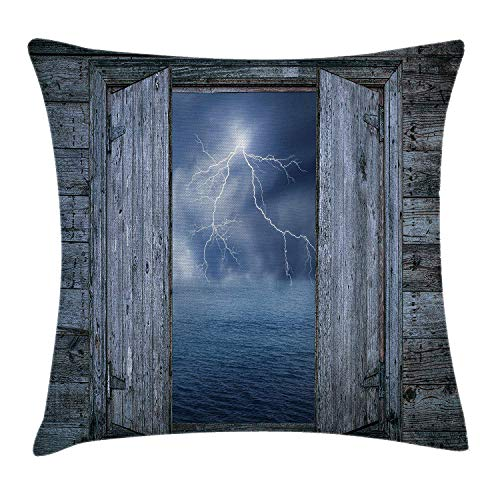 VICKKY Ocean Throw Pillow Cushion Cover, Lightning Bolt at Night from Window in A Seaside House Forces of Nature Theme Image, Decorative Square Accent Pillow Case, 18 X 18 Inches, Blue Grey