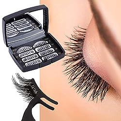 Magnetische Wimpern, 3D Magnet Künstliche Wimpern Set, 3 Magnete, Wiederverwendbare Falsche Magnetic Eyelashe (Black) (Black) (Black)