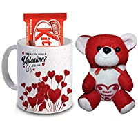 R B Store Valentine's Day Love Gifts Ceramic Mug, Red White Teddy and Chocolate Gift Combo for Special Someone Loved one Girlfriend Boyfriend Wife Husband