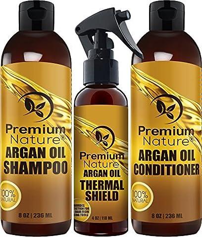 Premium Nature Argan-Öl Haare Behandlung Geschenk Set - 3 Stück: Argan Öl Shampoo (8Oz) Spülung (8 Oz) & Haar-Schutz-Spray (4Oz) - Sulfat Frei Naturhaar Reparatur - Premium (Avalon Organics Feuchtigkeits Shampoo)