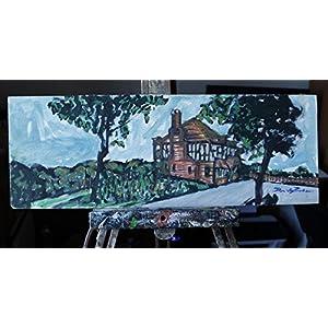 Landschaft -mit Acryl Technik cm54,9x19,7cm Größe -MADE IN ITALY Lucca,Zertifikat, Einzelstück des Malers Davide Pacini Lucca durchgeführt .Nur bei Amazon Preis ist es niedriger.
