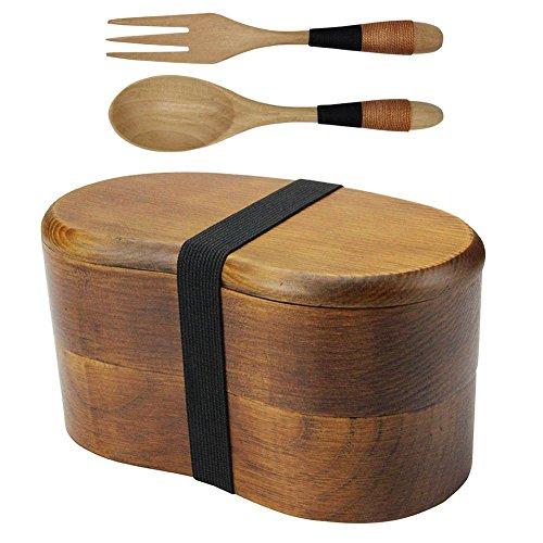Japanische Bento Box, natürlichem Holz Double Layer Lunch Box Food Sushi Fruit Sandwich Container für Reisen Schule Camping (mit Gabel Löffel Kit) (Double-layer-natürliche)