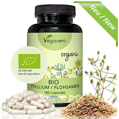 NEU: BIO Flohsamenschalen Kapseln - Psyllium Husk Vegavero | pflanzlicher Ballaststoff - Quellmittel | 180 hochdosierte Kapseln | Hochwertiger BIO Rohstoff | Vegan und OHNE chemische Zusätze