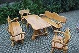 Massivholz Sitzgruppe Eiche für den Garten - Langer Tisch aus Holz und 2 Bänke sowie 2 Stühle mit Rückenlehne