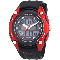 Sector Men's Digital Watch with LCD Dial Digital Display and Black PU Strap R3251574002