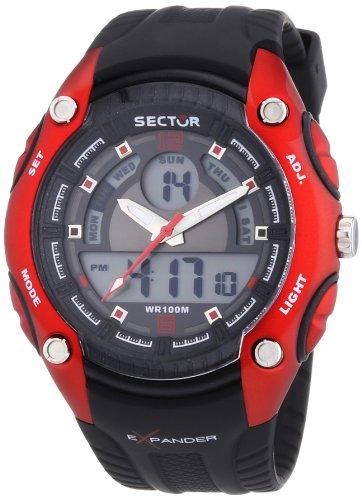 Sector R3251574002 - Reloj analógico y digital de cuarzo para hombre con correa de plástico, color negro