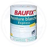 Baufix Express Weißlack 1 L für 10m² Seidenglänzend 2in1 Lack+Grundierung Weiß