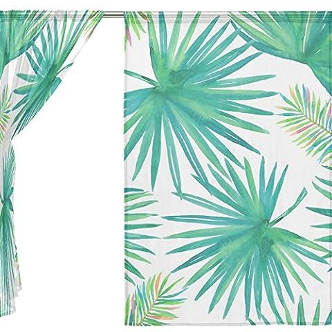 jstel 2Pcs Voile Fenster Vorhang, tropischen Palm Blätter, Tüll Sheer Vorhang Tuch Querbehang 139,7x 198,1cm Zwei scheibenelementen Set, Polyester, blau, 55x84x2(in)