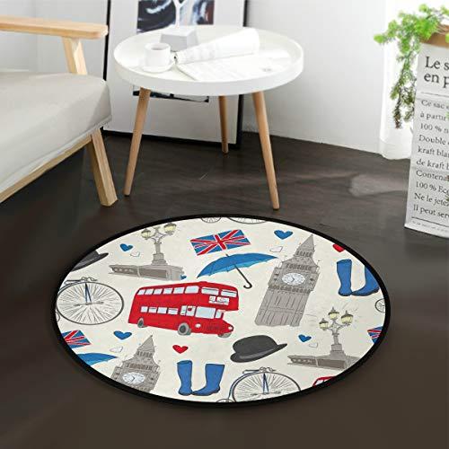 MNSRUU London Cartoon Big Ben Bus Union Jack Runde Fläche Teppich für Wohnzimmer Schlafzimmer 92 cm Durchmesser -
