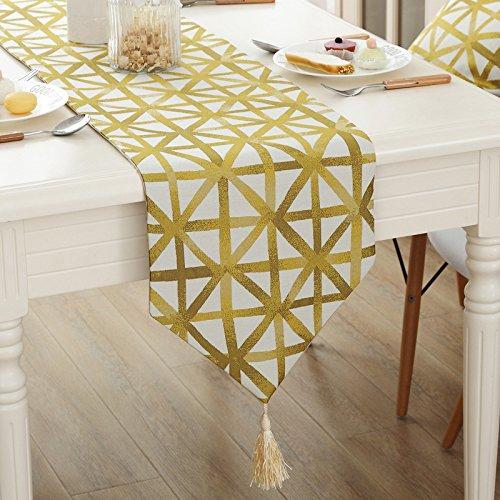 SAEJJ-Runner Semplice moderno m-forma geometrico giallo barra mobile TV tavolo tavolo da pranzo corridore bandiera bandiera decorativa , yellow , 32*200cm - Raso Musicale Mobile
