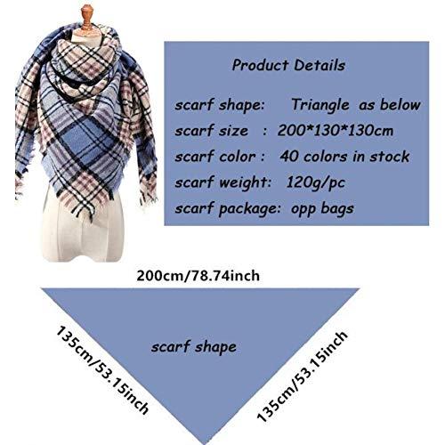 FDOSG Rayé Femmes Écharpe Hiver Cachemire Écharpes Foulards Carré pour Lady Wraps Couverture À Tricoter Foulard Bandana Cou Chaud Foulards