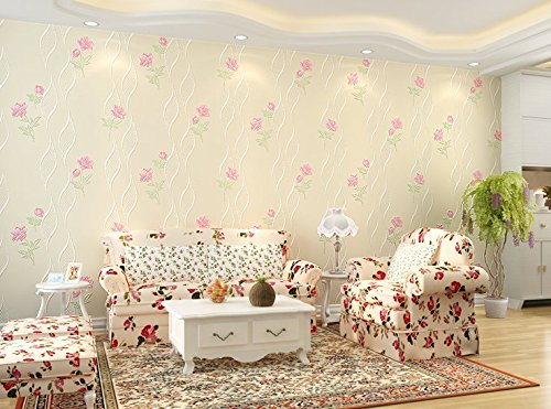 (Vlies Tapete Wandtapete Bedroom Wallpaper Room Warm And Simple, Non-Woven Fabric Wallpaper 3D Living Room Tv Background Wall Wallpaper Princess Room, 0.53 * 9.5M,S)