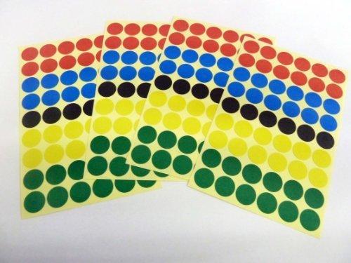 Varios Colores Papel Adhesivos, 12mm Circular, 216 Etiquetas, auta-adhesivo Etiquetas Adheribles , Economía Pack