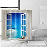 Nature View Badezimmer Duschvorhang Colorful Kunstdruck Decor Wasserdicht Anti Schimmel Stoff Polyester Bad Vorhang Sets mit frei Haken ylb03, Window, 60