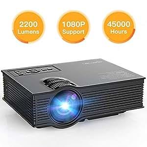 APEMAN Aggiornato LED Proiettore Multimediale Mini Portatile Videoproiettore 2200 Lumen LCD Cinema Domestico Giochi Video e Progetto Sopporta 1080P HD Video e Ingresso da IR USB SD (Nero)