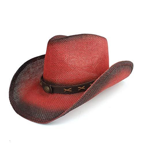 AM-women's hat Mode Trendy Wide Brim Fedora Jazz Hut for Sunbonnet Summer Sun Beach Hut Neue Männer Frauen Sonnencreme Western Cowboy Hut Komfort (Farbe : Rot, Größe : 56-58) Wide Brim Fedora-hut
