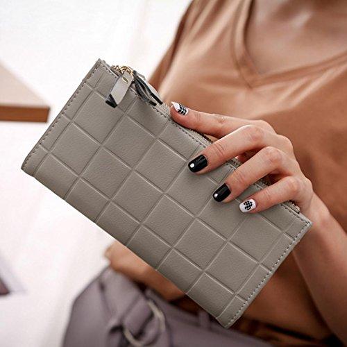 Portafoglio Donna, Tpulling Borsa della borsa del supporto della carta del raccoglitore della borsa della frizione delle donne (Black) Gray