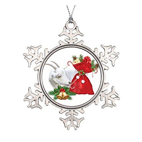 Daily Lady Weihnachtsdekoration Saanen Ziege mit Weihnachtsgeist aus Keramik (Christbaumschmuck Musikalischer)