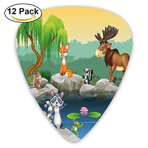 Lustige Maskottchen Tiere am See Elch Fuchs Eichhörnchen Waschbär Kinder Kindergarten Plektren 12 Pack Für E-Gitarre, Akustikgitarre, Mandoline und (Waschbär Maskottchen)