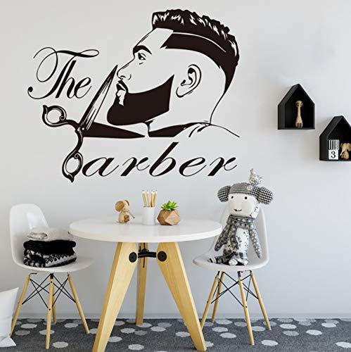Barber Shop Herren Bart Friseursalon Wandtattoo Beauty Friseur Haarschnitt Barber Shop Wandaufkleber Vinyl 56x46cm