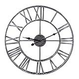 GUOGUO 50cm Wanduhr Groß Vintage Wanduhr Ohne Tickgeräusche mit Großen Römische Ziffern aus Metall (Silber)