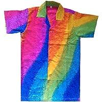Camicia hawaiana per Uomo, motivo arcobaleno, per la spiaggia, feste, estate/vacanza