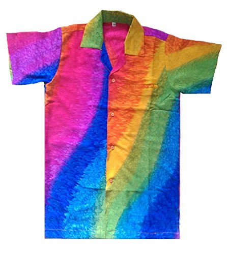 Mens Hawaiian Shirt Stag Beach Hawaii Aloha Party Summer Holiday Fancy Rainbow